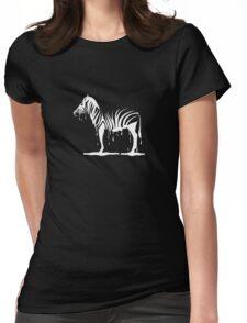 zebra melting on black Womens Fitted T-Shirt