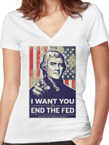Thomas Jefferson End the Fed Women's Fitted V-Neck T-Shirt