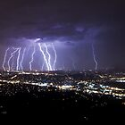 Mt Dandenong Victoria - Thunder Storm Lightning from Skyhigh October 2015 by Ben  Cadwallader