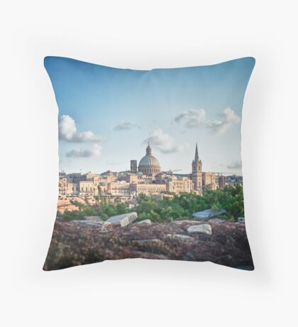 Valletta in the background Throw Pillow