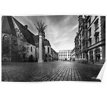 Urban Street Scene - City Square Leipzig Germany Poster
