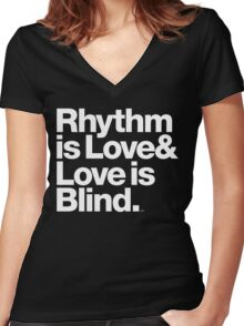 André Cymone Love to Dance Electric Helvetica Threads Women's Fitted V-Neck T-Shirt