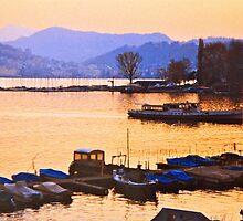 Lake Lugano As Night Falls by Ronald Rockman