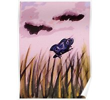 cloudy day for a butterfly , watercolor Poster