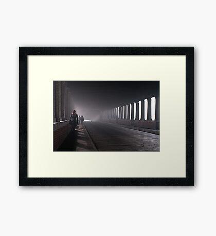 On the bridge Framed Print