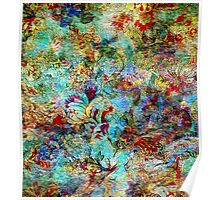 Rustic Colorful Floral Collage Grunge Syle Poster