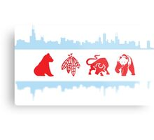 Chicago Flags with Teams and Skyline Metal Print