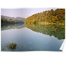 Autumn morning along the Rhone river Poster