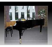 As Shadows Fall - Grand Piano In Reflection Frame Photographic Print