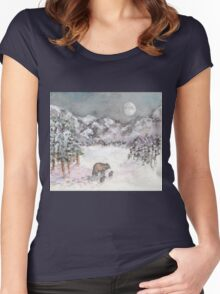 Bears in Winter Women's Fitted Scoop T-Shirt
