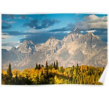 Fall Leaves and the Teton Mountains Poster