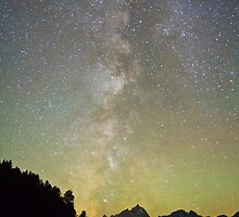 Milky Way and Northern Lights Over Jackson Lake by cavaroc