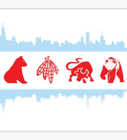 Chicago Flag with Logos and Skyline Poster Sticker