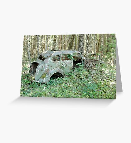 Old Car in the Forest - 24739 Greeting Card