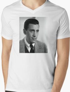 J.D. Salinger Black and White Portrait Mens V-Neck T-Shirt