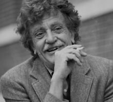 Kurt Vonnegut Black and White Portrait by yungbean