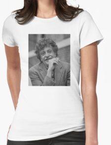 Kurt Vonnegut Black and White Portrait Womens Fitted T-Shirt