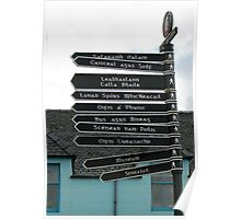 Signpost in Gaelic, Stornoway, Isle of Lewis, Scotland Poster