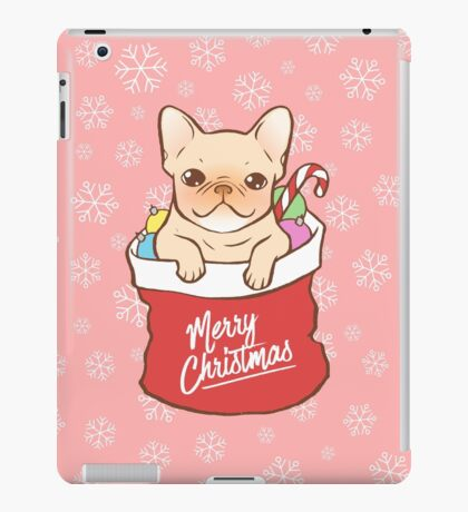 Frenchie comes with Santa Claus iPad Case/Skin