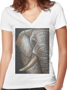 Orange Elephant Canvas Art Women's Fitted V-Neck T-Shirt