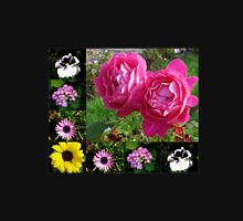Floral Collage featuring Two Pink Roses Womens Fitted T-Shirt