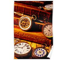 old books and pocket watches Poster