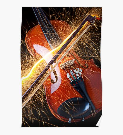 Violin with sparks flying from the bow Poster