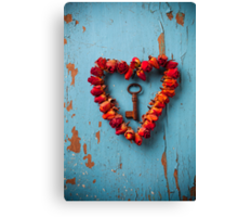 Small rose heart wreath with key Canvas Print