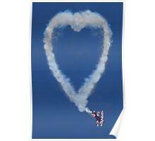 Heart shape smoke and plane Poster