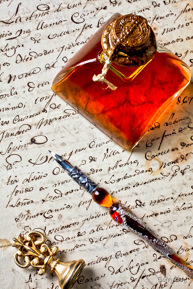 Ink bottle and pen  by Garry Gay