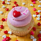 Pink cupcake with candy hearts by Garry Gay