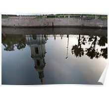 Reflection of a bell tower Poster