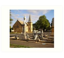 Cenotaph and Catholic Church, Ross Art Print