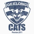 Geelong Cats, AFL Premiers 2011 (Washed Worn Look) by TrashnTreasure