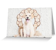 Lab Puppy with Christmas Wreath On a Cable Knit Blanket -Animal Rescue Portraits Greeting Card