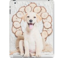 Lab Puppy with Christmas Wreath On a Cable Knit Blanket -Animal Rescue Portraits iPad Case/Skin