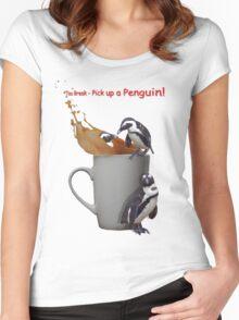 Tea Break - Pick up a Penguin! Women's Fitted Scoop T-Shirt