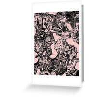 Floral Monoprint Transparent Background Greeting Card