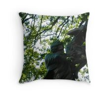 Dad and daughter swing statue Throw Pillow