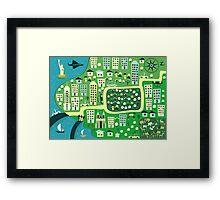 Cartoon Map of New York Framed Print