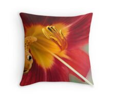 Caterpillar In Daylily Throw Pillow