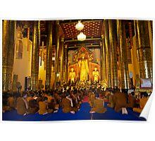 Morning prayers, Wat Chedi Luang Chiang Mai, Thailand Poster