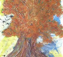 Mixed Media Autumnal Tree by knittingjourney