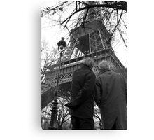 Deux Hommes et Eiffel Canvas Print