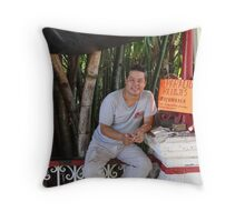 Watchmaker with his little store Throw Pillow