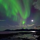Moon &amp; Aurora Borealis by Frank Olsen