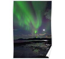 Moon & Aurora Borealis Poster