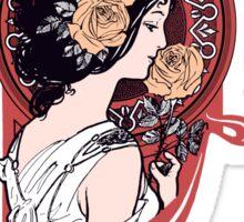 Red art nouveau flower girl Sticker