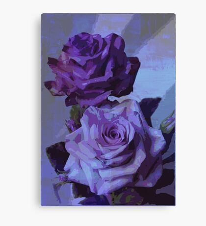 Blue Roses - Floral Art Print Canvas Print