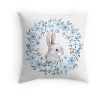 Rabbit and floral wreath Throw Pillow